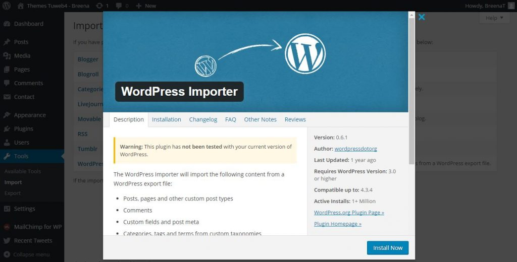 import demo content wordpress them breena 2