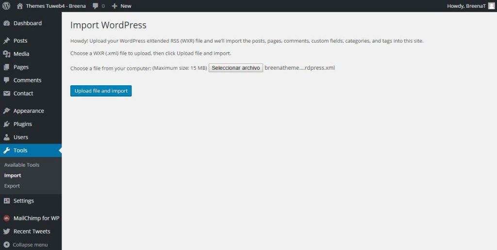 import demo content wordpress them breena 3