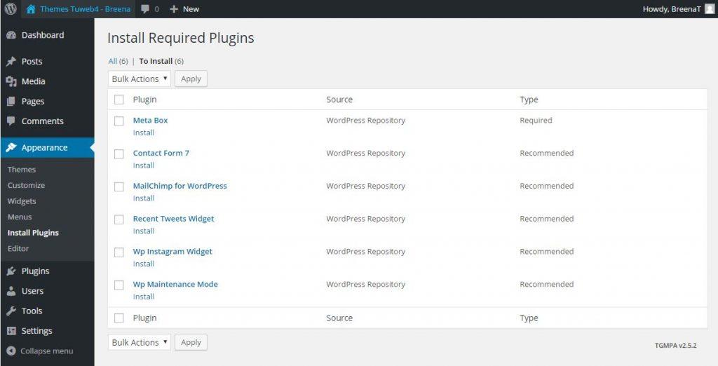 installa plugins themes wordpress breena 2