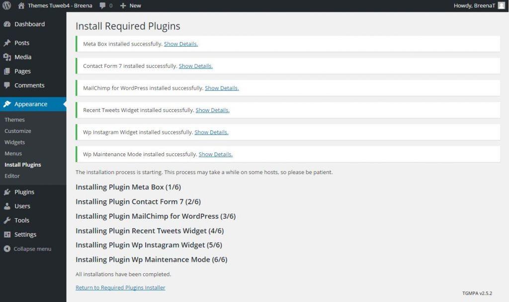 installa plugins themes wordpress breena 5